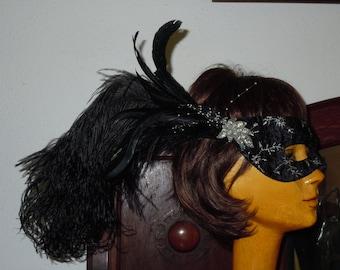 Vintage Handmade Masquarade Mask with Marabou Feathers
