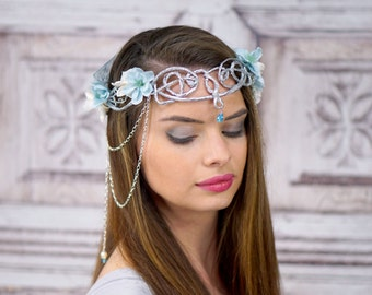Silver Elven Crown, White and Blue, Ocean Goddess Headpiece, Mermaid Crown, Costume Headdress, Circlet, Flower Crown, Woodland, Bridal Crown