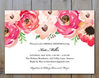 Printable Bridal Shower Invitation / Watercolor Pink Flowers / Wedding Shower / PRINTABLE INVITATION / #1222