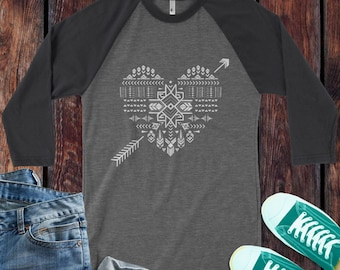 Valentines Aztec heart and arrow 3/4 Sleeve Baseball Raglan / design Aztec Boho Arrow Style Heart Shirt - Ink Printed