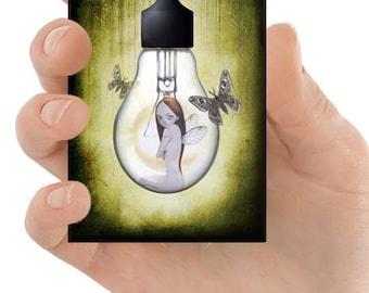 ACEO Card | Fairy ACEO Card | Fairy And Moths | Artist Trading Card | ACEO Print | Mixed Media Art | Miniature Art | Art Card | Shine