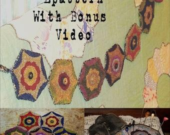 Primitive Punch Needle Pattern epattern pdf Punchneedle Needlepunch Garland Pincushion Rug Mat Online Tutorial FREE Video Hickety Pickety