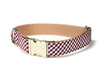 Texas Aggie Dog Collar, Maroon Gingham Dog Collar, Preppy Dog Collar, Gingham Dog Collar, Crimson Dog Collar, Male Dog Collar, Dog Gift