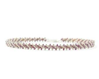 Layering Bracelet - Amethyst Bracelet - Chain Bracelet - Beadwork Jewelry - Striped Bracelet - Seed Bead Bracelet - Beaded Jewelry