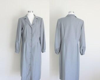 1970s Coat Dress | Princess Coat | Stanley Sherman | Wool Coat | Large