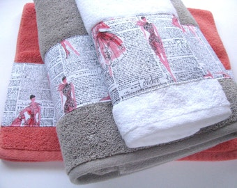 Fashion Ladies, Newsprint, hand towels, Paris girls, bathroom, towels, pink bathroom, bath decor, Paris, Fashion, newspaper, towel rack