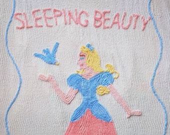 1950's Full Size Sleeping Beauty Chenille Bedspread - 1950s Disney Princess Quilt Bed Spread Sheet Blanket 50s 50's Snow White Cinderella