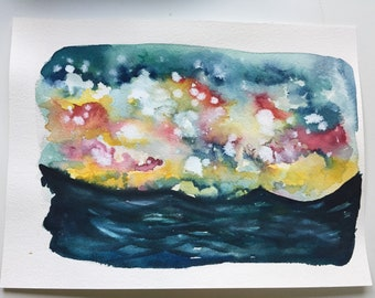 Tempestuous sunrise original watercolor 12x9