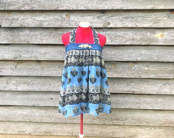 Reconstructed Upcycled Festival Bohemian Halter Top Babydoll Style with Denim and Sparkly Emellishments