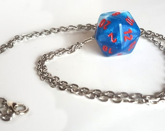 Dice Pendant Necklace - Sparkle Blue and White D20 Twenty Sided Dice Jewelry - Geeky Gamer Jewelry