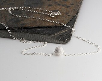 Sterling Silver Single Bead Necklace, Dainty Necklace, Simple Bead Silver Necklace, Tiny Silver Necklace, Small Necklace, Handmade Necklace