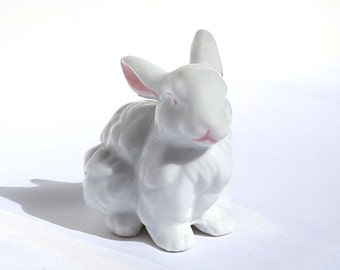 Vintage White Porcelain Long Eared White Cottontail Rabbit or Bunny with Pink Ears presented by Donellensvintage