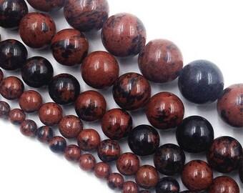 (Mahogany) 8 x 10 mm mahogany Obsidian round bead