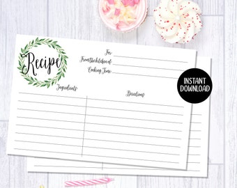 Recipe Cards | 4x6 | Kitchen Decor | Green Wreath | Watercolor Floral | Printable/Digital File | Instant Download