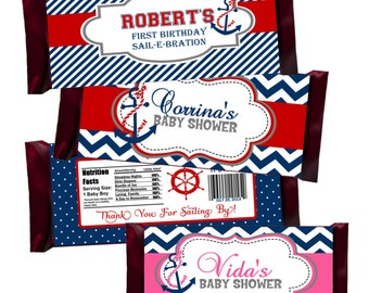 Nautical Candy Bar Wrappers, Baby Shower Favor, Birthday Party Favors, Birth Announcement - Digital File