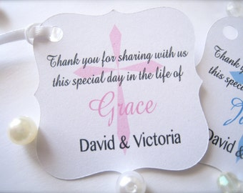 Baptism favor tags, baby christening tags, religious tags, cross tags, first communion tags, confirmation favor tags - 30 tags