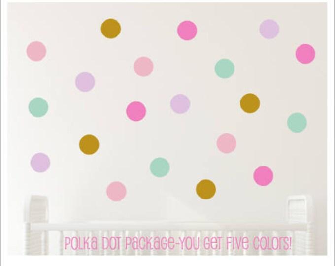 Polka Dot Decals- Peel and Stick- Set of Dot Vinyl Decals- Five Colors- Unicorn Room- Unicorn Themed Girls Bedroom- Nursery Wall- Dot Decals