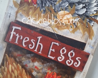 "11"" x 30""  #550 Welcome Hen Original Art hand painted Acrylics"