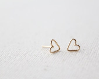 Tiny Open Heart Earring Studs - Hand Formed - Yellow Gold or Rose Gold or Silver - Lorelai