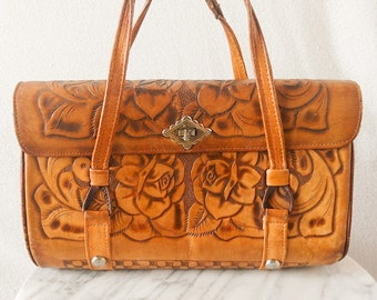 Vintage Detash Rose Country Tooled Leather Purse / Handbag