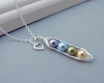 Custom Birthstone Peas in a Pod Necklace, personalised peapod necklace, Mothers Necklace, Sterling Silver, family necklace, grandma