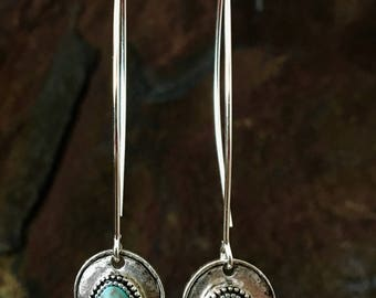 Long turquoise magnesite simplicity earrings