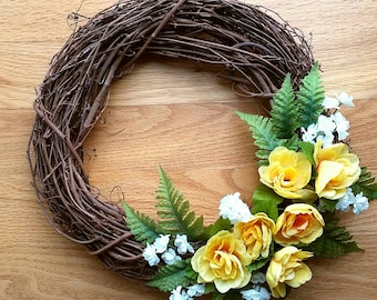 Sale! Spring Wreath    Floral Wreath    Yellow Roses    Ferns    Summer    Easter Wreath    Mother's Day    Gifts for Her