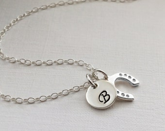 Personalized Initial Horse Shoe Necklace - Personalize silver necklace, Lucky Horse Shoe Necklace