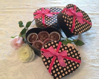 Bulk Valentine Chocolate Fudge, Rich Chocolate Fudge in a Valentine's Day Heart Box, Nut Free Chocolate Fudge Valentines Day Chocolate Candy
