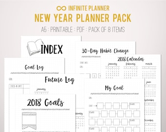 New Year Bundle - 2018 - Bullet Journal Printable