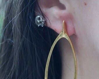 Rabbit wishbone ear studs in 24ct gold plated silver