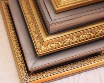 Painted Frame Set of Three 8x10 Gold Distressed Vintage Hand Painted & Distressed