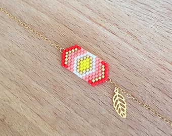 Bracelet weaving geometric coral and small leaf gilded with fine gold