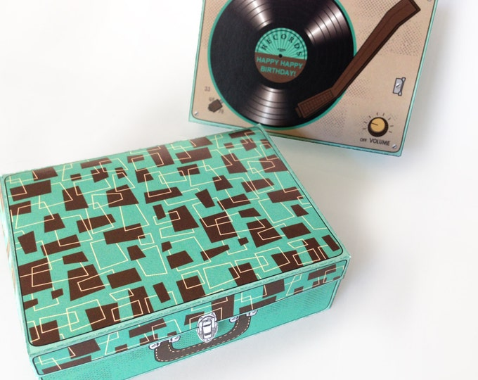 Record Player Box, Gift Card Box, Party Favor, Gift Card Holder, Favor Box - Turquoise - Instant Download DIY Printable PDF Kit