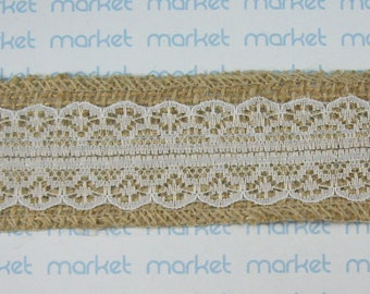 Decorative ribbon fabric with lace ref. 210114-27