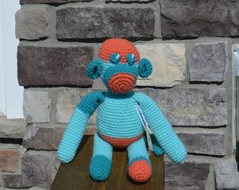 Colorful Sock monkey, amigurumi crochet, multi colored, stuffed animal, toy, toddler, baby
