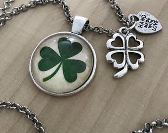St. Patrick's day pendant, Irish necklace, Irish jewelry, Shamrock jewelry, Shamrock keychain, Irish gifts for women, Shamrock necklace