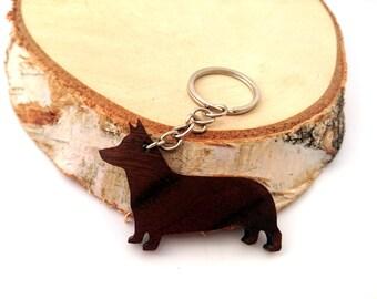 Wooden Welsh Corgi  Dog Keychain, Corgi Animal Keychain, Dog Keychain, Walnut Wood, Environmental Friendly Green materials