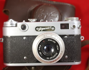 Vintage Zorki-5 Russian rangefinder camera with INDUSTAR 50m 3.5/50 Lens