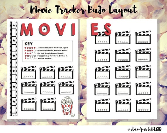 Movie Review Tracker Bullet Journal Printable