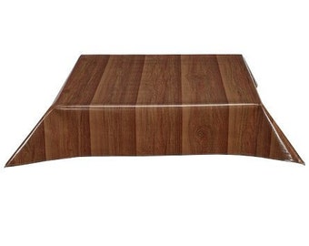 Square Faux Bois Plank Walnut Oilcloth Tablecloth with Simple Hem