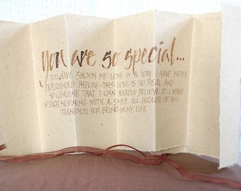 You are so special... love letter, Luxury card, accordion card, concertina book, natural bagasse brown paper, uk, for men, for women