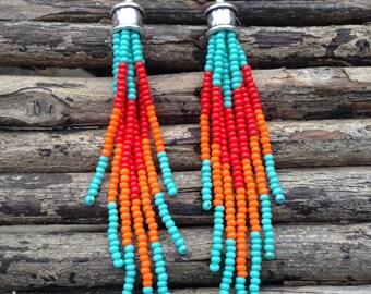 Tassel Seed Bead Earrings, Fringe Earrings, Southwestern Earrings, Seed Bead Earrings, Boho Earrings, Beaded Earrings
