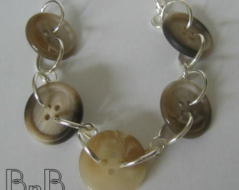 Big Chunky Buttoned Bracelet Cool Neutrals