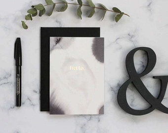 Hello card, calligraphy card, modern card, blank card, everyday greetings card, note cards, rose gold, calligraphy card, note card