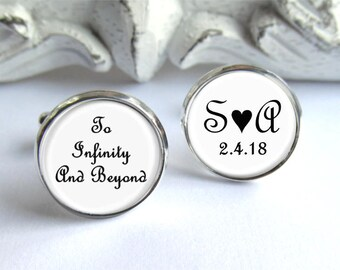 Personalized Groom Cufflinks, Anniversary Gift, To Infinity And Beyond