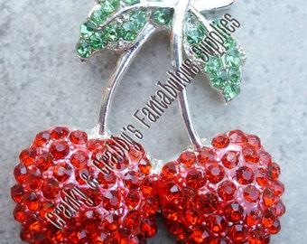 Silver Cherry Rhinestone Pendant - Rhinestone-  Chunky Necklaces - 48mm x 40.5mm Cherries Red Green
