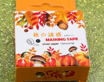 Autumn Harvest Thanksgiving Pumpkin Acorn Orange Washi Tape