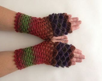 Dragon scale gloves, green stripe gloves, dragon wrist warmers, mermaid gloves, long dragon gloves, fingerless gloves, wristwarmers