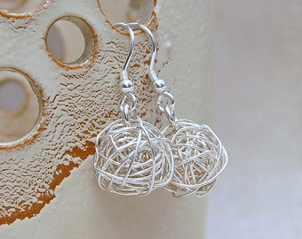 Sterling Silver Bird's Nest Earrings